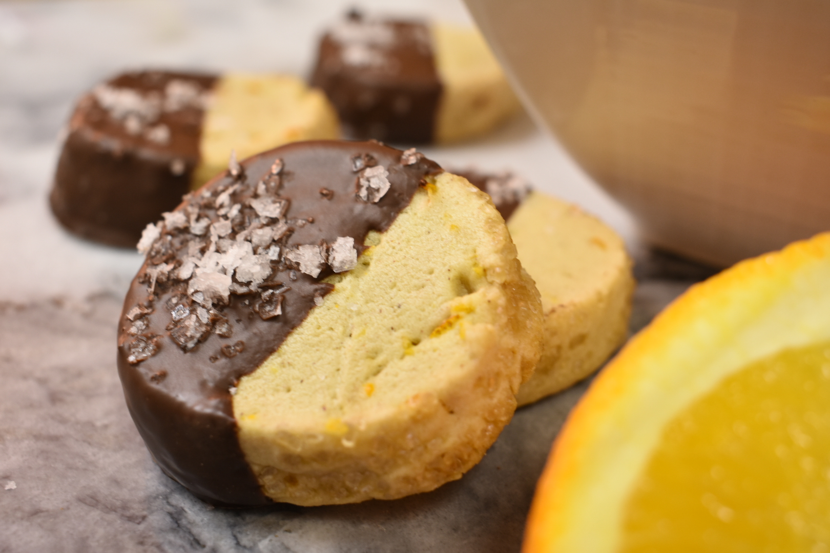 Chocolate orange shortbread cookies